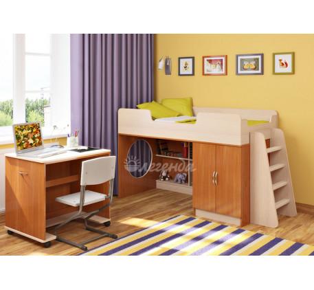 Детская кровать-чердак Легенда 2.2 со столом Л-02, спальное место 160х80 см