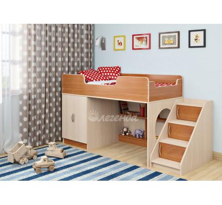Кровать-чердак низкая Легенда-2.4 с лестницей ЛУ-02, спальное место 160х80 см