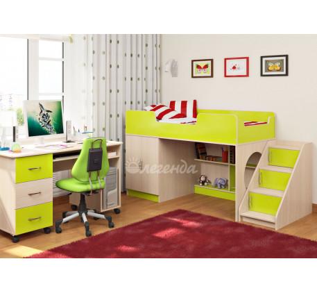 Кровать Легенда-2.3 (Сказка-2) со столом Л-01 и лестницей ЛУ-02, спальное место 160х80 см