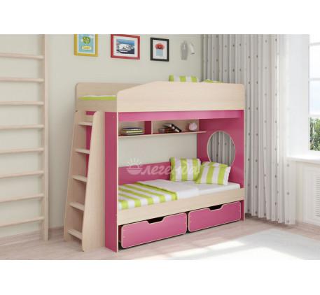Двухъярусная кровать для девочек Легенда-10.2, спальные места 180х80 см