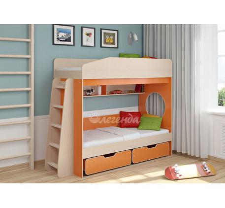 Двухъярусная кровать для двоих детей Легенда-10.2, спальные места 180х80 см