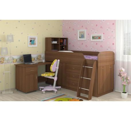 Кровать-чердак для детей Дюймовочка-1 со столом, спальное место 190х80 см