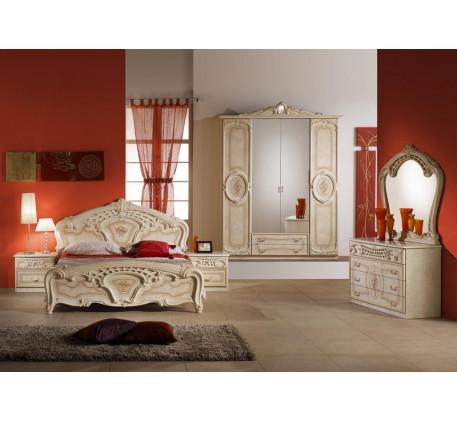 Спальня Роза (на фото): Кровать Роза 1600, Тумба прикроватная (2 шт.), Комод с зеркалом Роза, Шкаф 4..