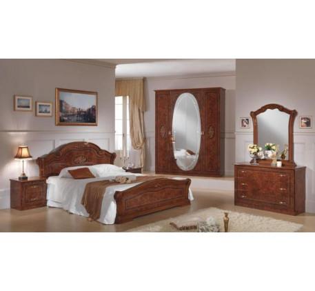 Спальня Виктория (на фото): Кровать 1600, Тумба прикроватная (2 шт.),  Комод с зеркалом, Шкаф 4 двер..