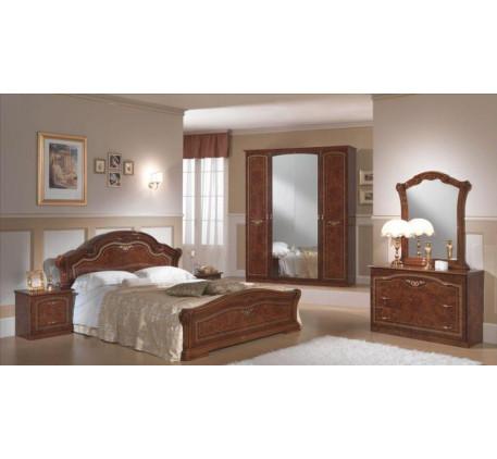 Спальня Ирина (на фото): Кровать, Тумба прикроватная (2 шт.),  Комод с зеркалом, Шкаф 4 дверный. Доп..