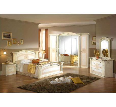 Спальня Евгения (на фото): Кровать, Тумба прикроватная (2 шт.), Комод с зеркалом, Шкаф 5 дверный. До..